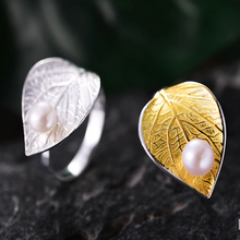 Pearl On A Leaf Ring