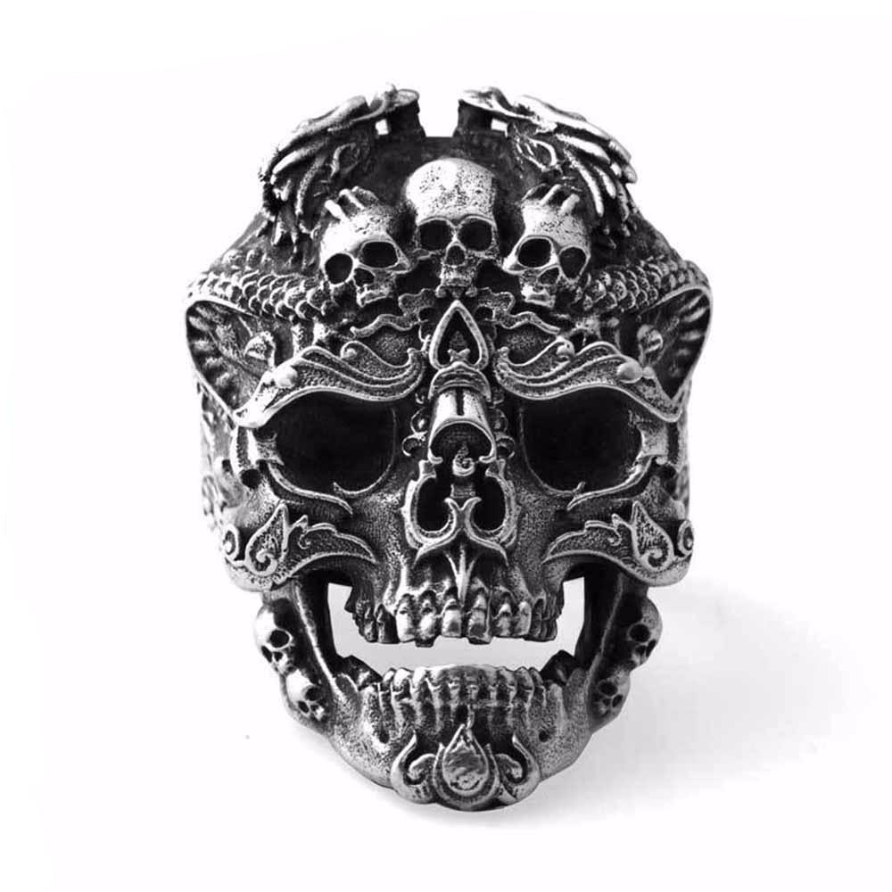 Vintage White Walker Skull Sterling Silver Open Ring