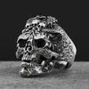 Vintage White Walker Skull Sterling Silver Open Ring - thatringshop