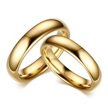 Classic Gold Plated Tungsten Couple Rings
