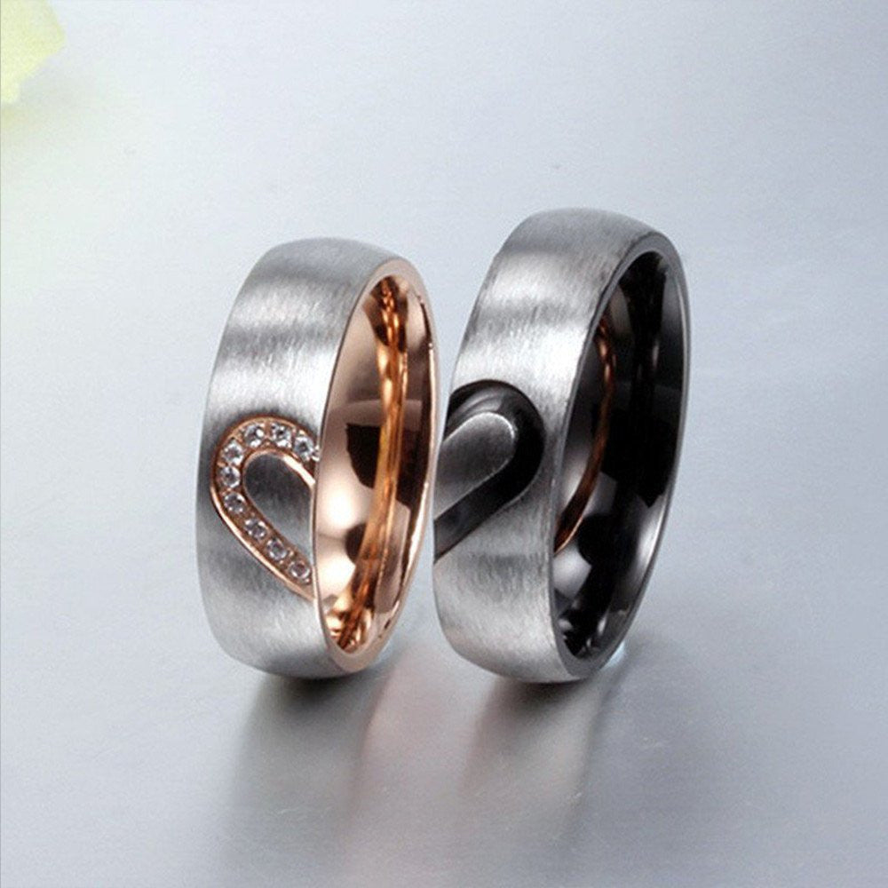 Conjoin Crystal Heart Stainless Steel Couple Rings