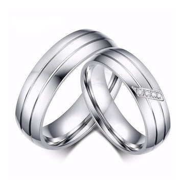 Double Groove Stainless Steel Couple Rings