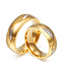 Trendy Gold Wave Stainless Steel Couple Rings