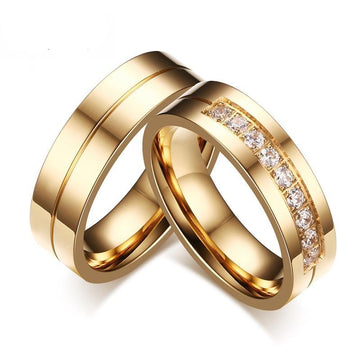 Gold Plated Crystal Groove Stainless Steel Rings