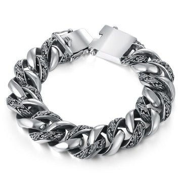 Leaves Carving Woven Sterling Silver Bracelet