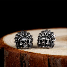 Red Indian Chief Skull Earrings
