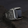 Vintage Black Obsidian Sterling Silver Ring - thatringshop