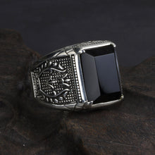 Vintage Black Obsidian Sterling Silver Ring