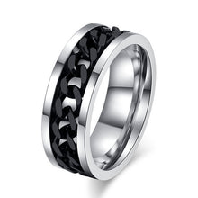 Black/Gold/Silver Chain Spinner Stainless Steel Ring