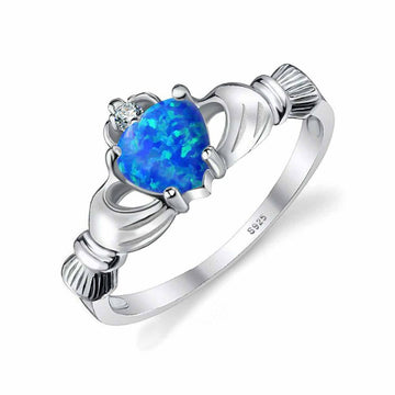 Blue Fire Opal Claddagh Ring