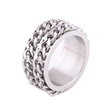 Double Chain Spinner Stainless Steel Ring