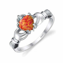 Fire Opal Claddagh Ring