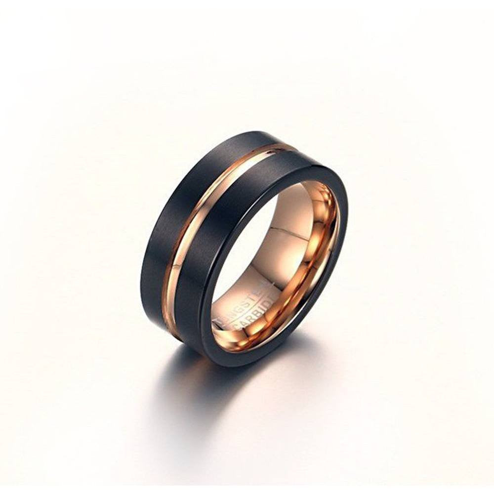 Matte Black & Rose Gold Tungsten Ring