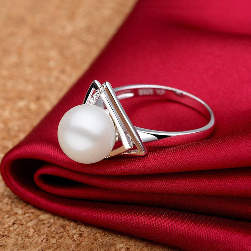 Natural Pearl Triangle Sterling Silver Ring