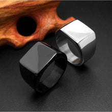 Total Black/Silver Square Men Stainless Steel Ring