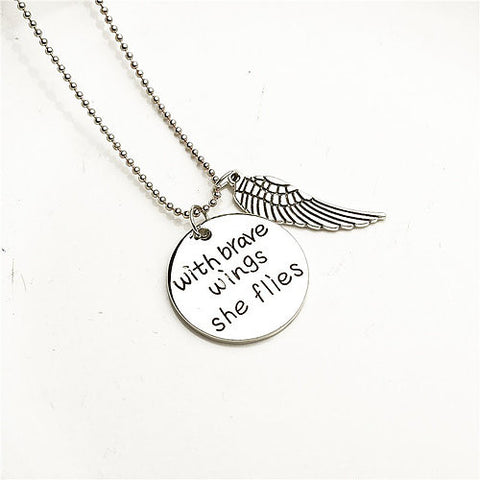 Brave Wings Quote Necklace