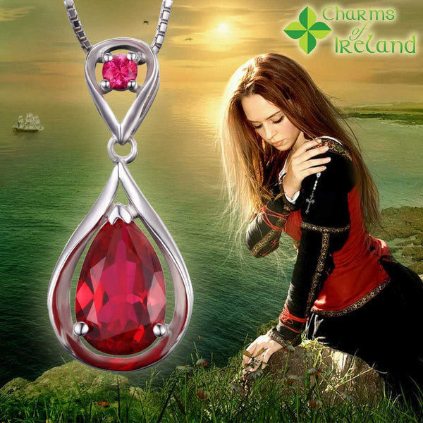 Created Red Ruby Pendant