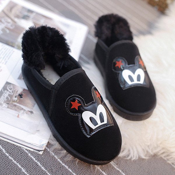 Plush Fur Mickey Suede Slippers