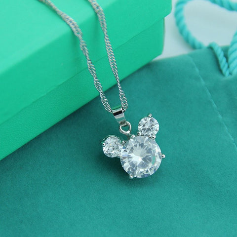Cubic Zirconia Mickey Necklace