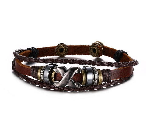 GENUINE LEATHER BANGLE STAINLESS STEEL BRACELET