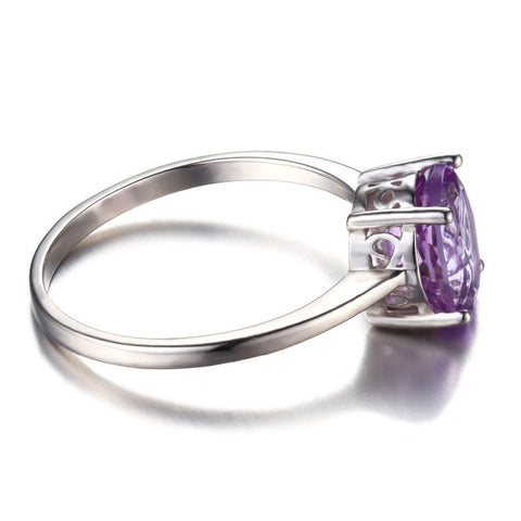 Natural Amethyst Solitaire Ring