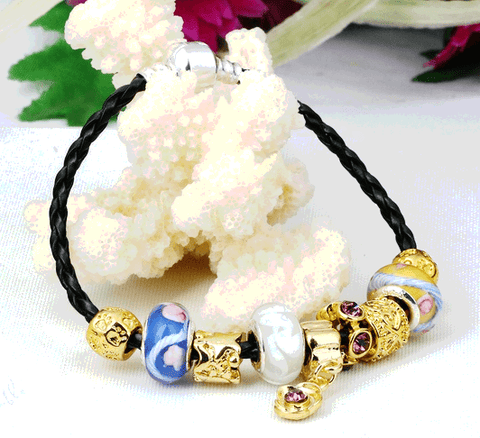 EUROPEAN STYLE YELLOW GOLD PLATED CHARM BRACELETS & BANGLES