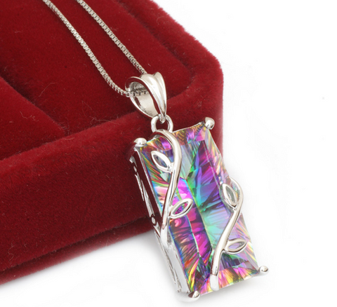 Genuine Rainbow Topaz Pendant