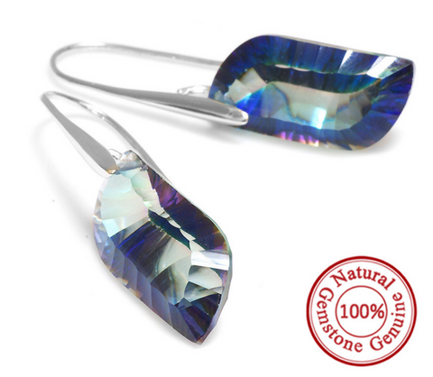Genuine Rainbow Topaz Earrings