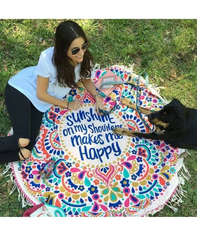 Round Mandala Beach Throw Towel Mat Blanket