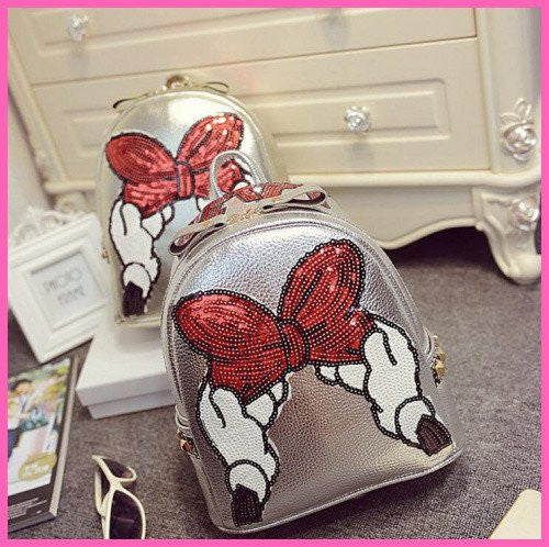 Ladies leather Mickey Bling backpack
