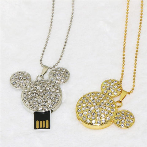 Crystal Mickey Necklace with USB Flash drive