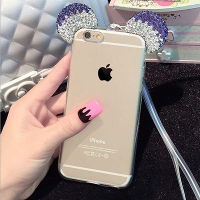 Hot Luxury 3D Diamond Glitter Mickey MinniePhone Cases Cover For iPhone 5 5S 6 6S 6Plus