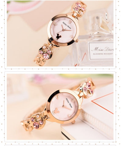 Luxury Ladies Mickey Quartz Watch with Rhinestones