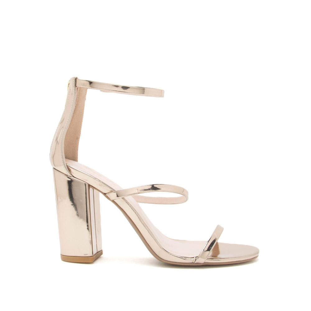 Champagne Pop  - Champagne Metallic Three Band Heels