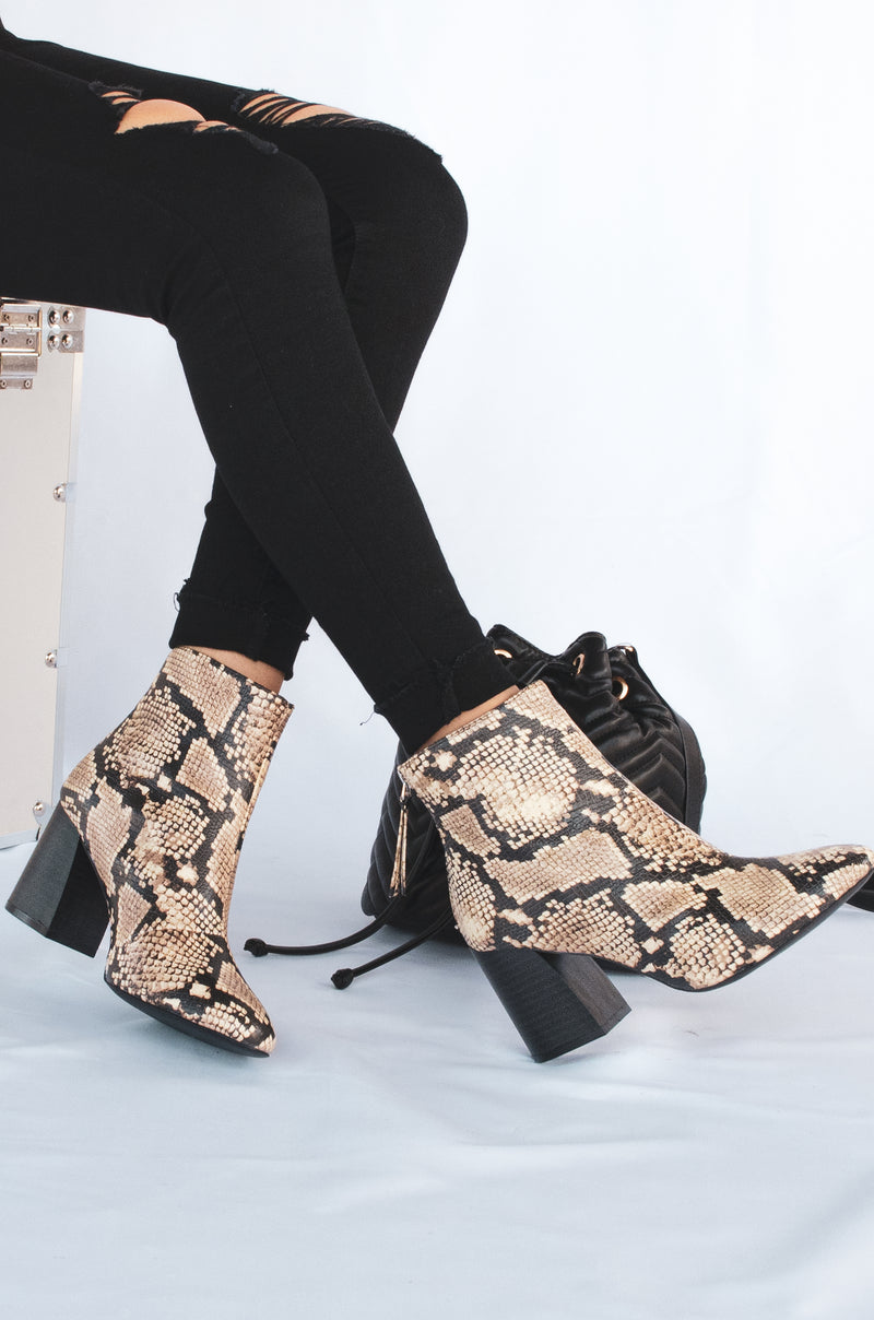 All Eyes On You - Beige Snake Booties