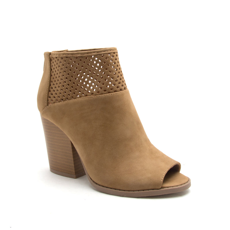 Sugar Love - Tan Perforated Peep Toe Booties