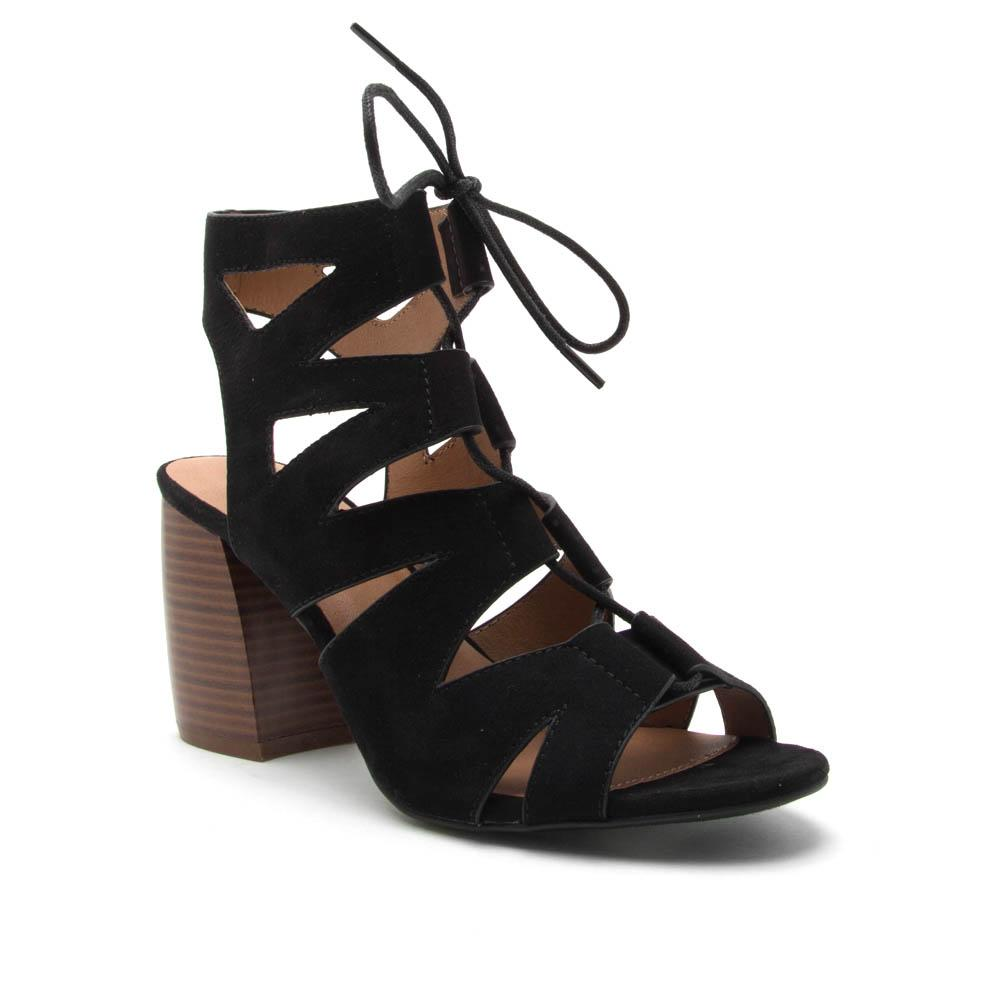 Weekend Warrior - Black Lace Up Heels