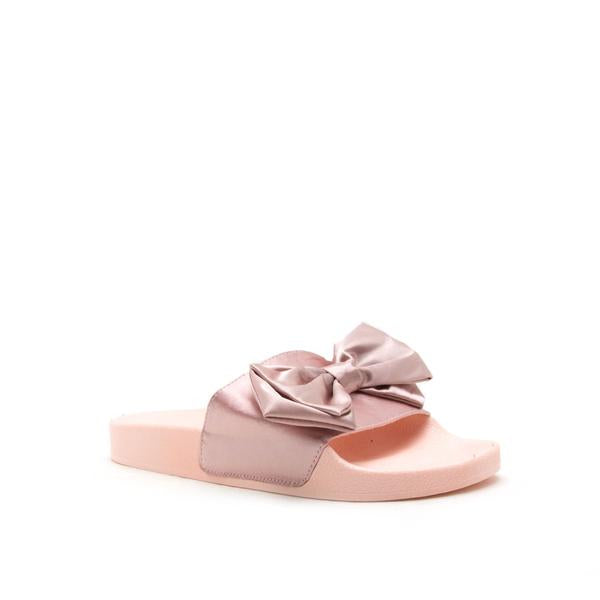 Bow Down - Blush Bow Slide Sandals