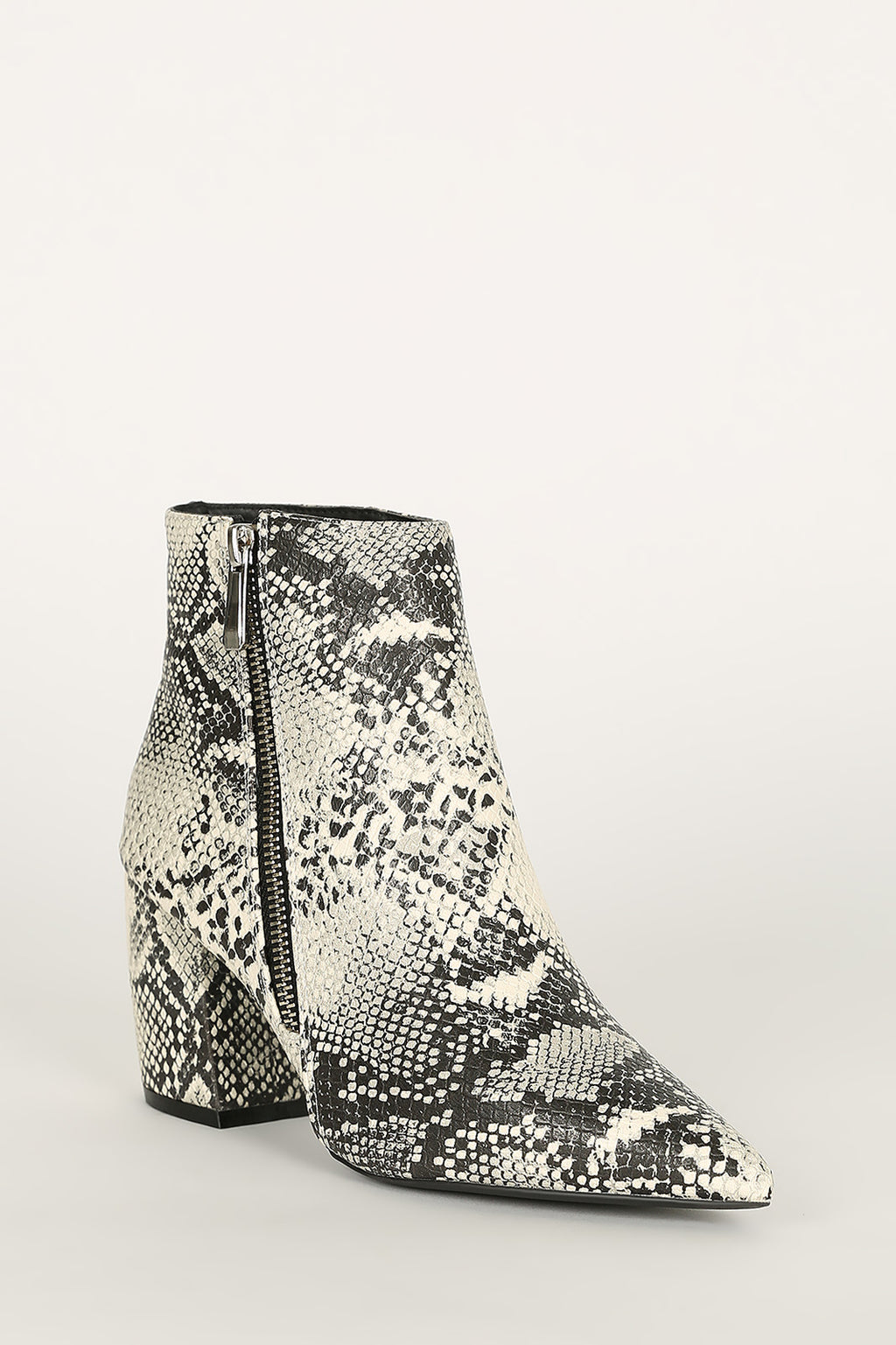 Bad Behavior - Stone Snake Pointed Toe Booties