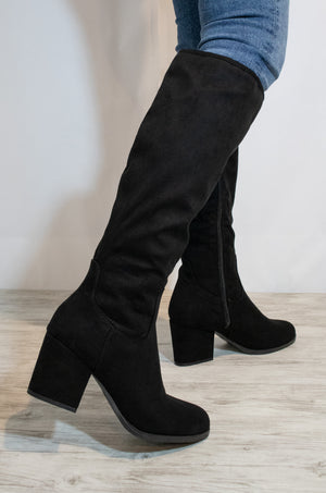 Be My Girl - Black Almond Toe Chunky Heeled Boots