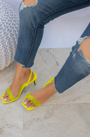 Blogger Babe - Neon Yellow Transparent Strap Heels