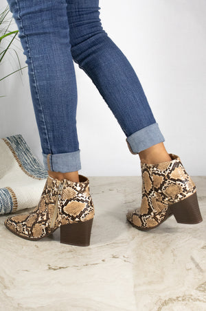 Bold Moves - Beige Snake Side Zipper Booties