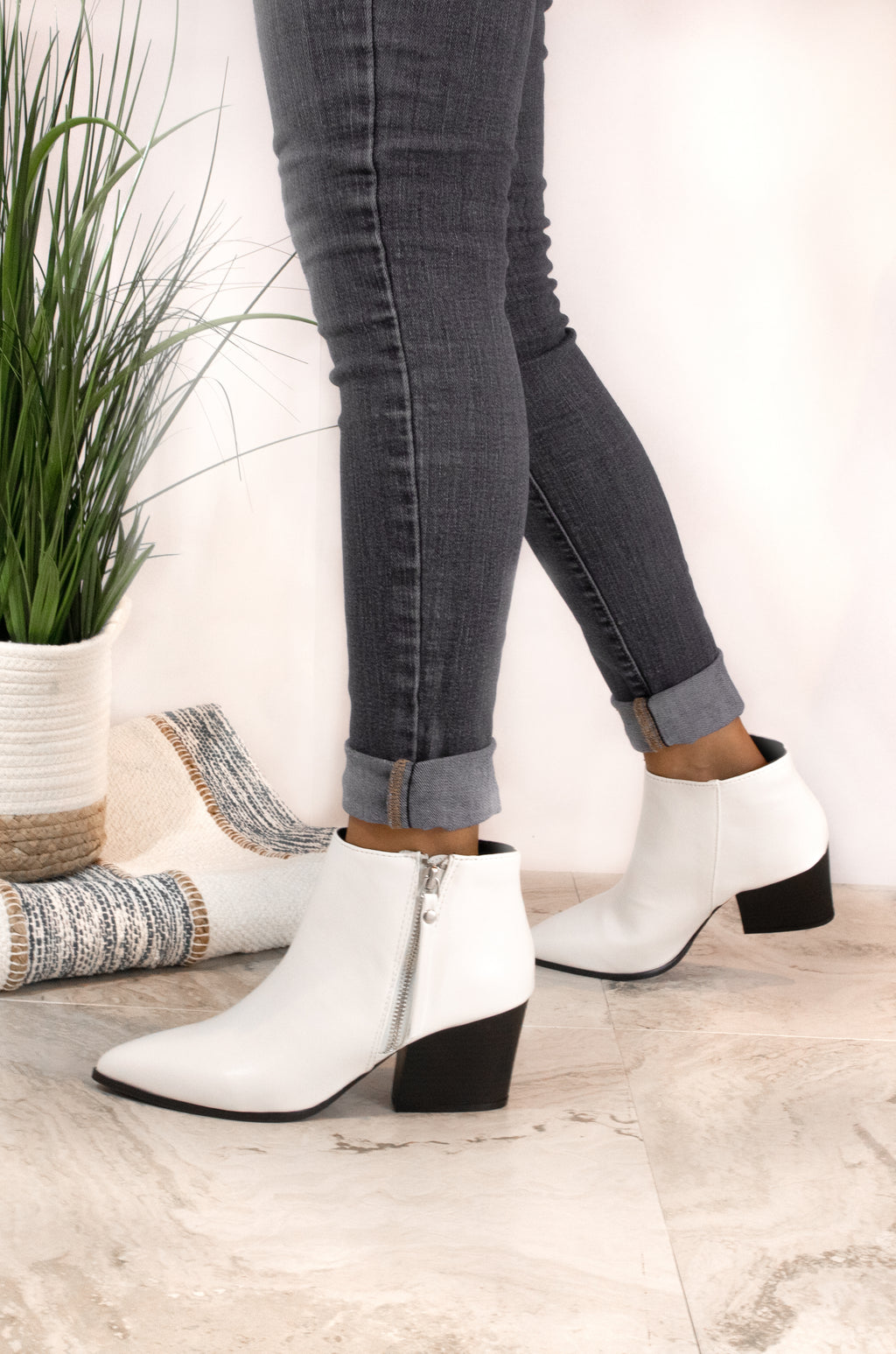 Bold Moves - White Side Zipper Booties