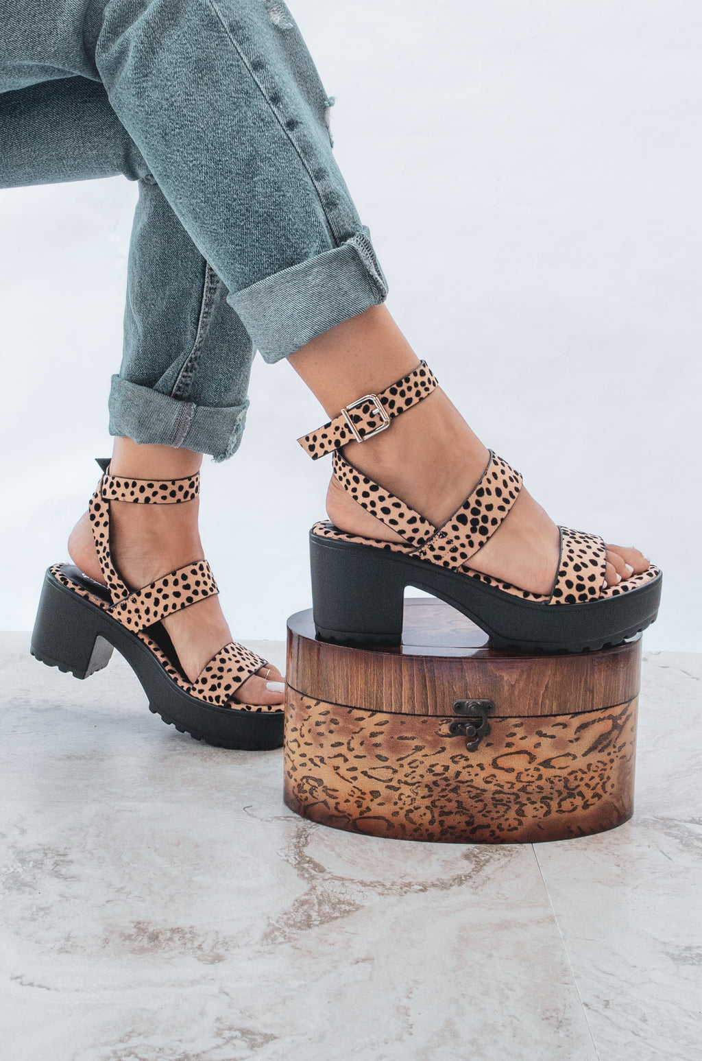 Born Sinner - Leopard Lug Sole Platforms