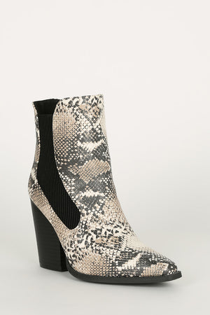 Born To Slay - Beige Brown Snake Booties