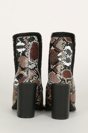 Born To Slay - Camel Multi Snake Booties