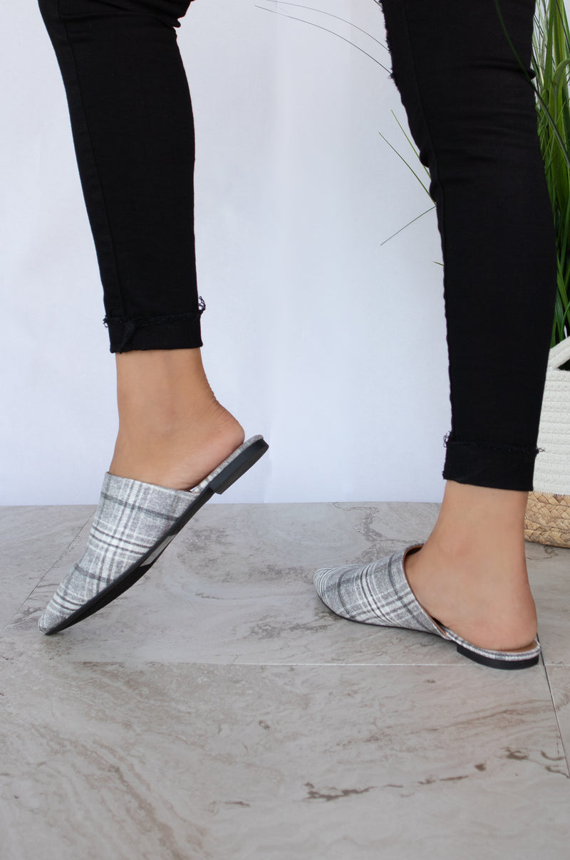 Boss Lady - Grey Plaid Pointed Toe Flats