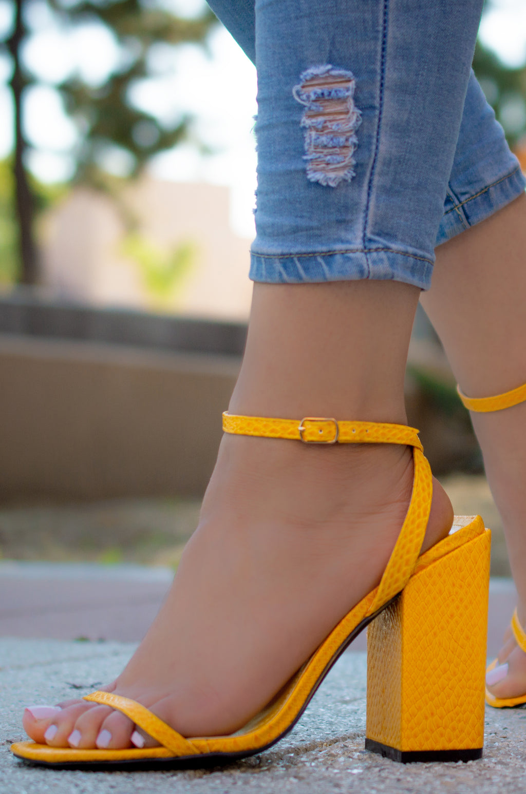 Bright Side - Yellow Snake Ankle Strap Heels