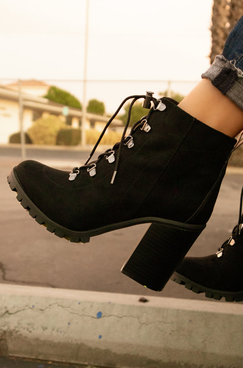Brooklyn - Black Lug Sole Lace Up Booties