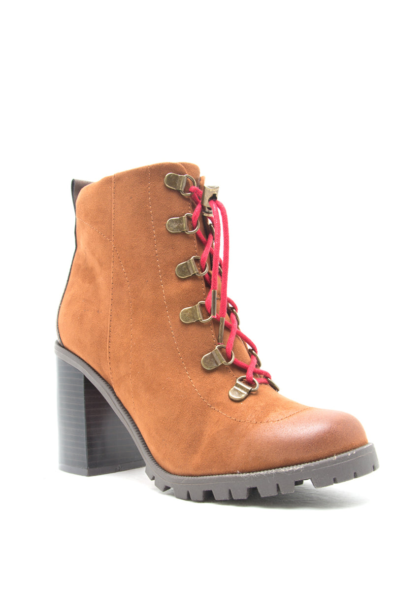 Brooklyn - Chestnut Lug Sole Lace Up Booties